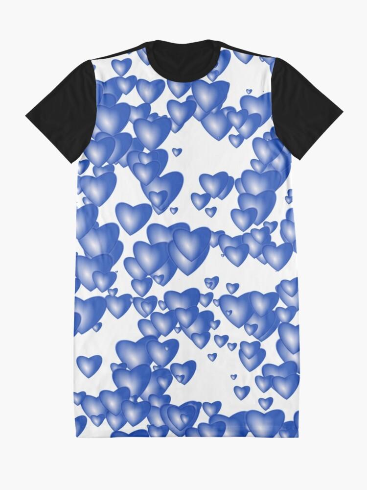 Alternate view of Blue heart pattern Graphic T-Shirt Dress