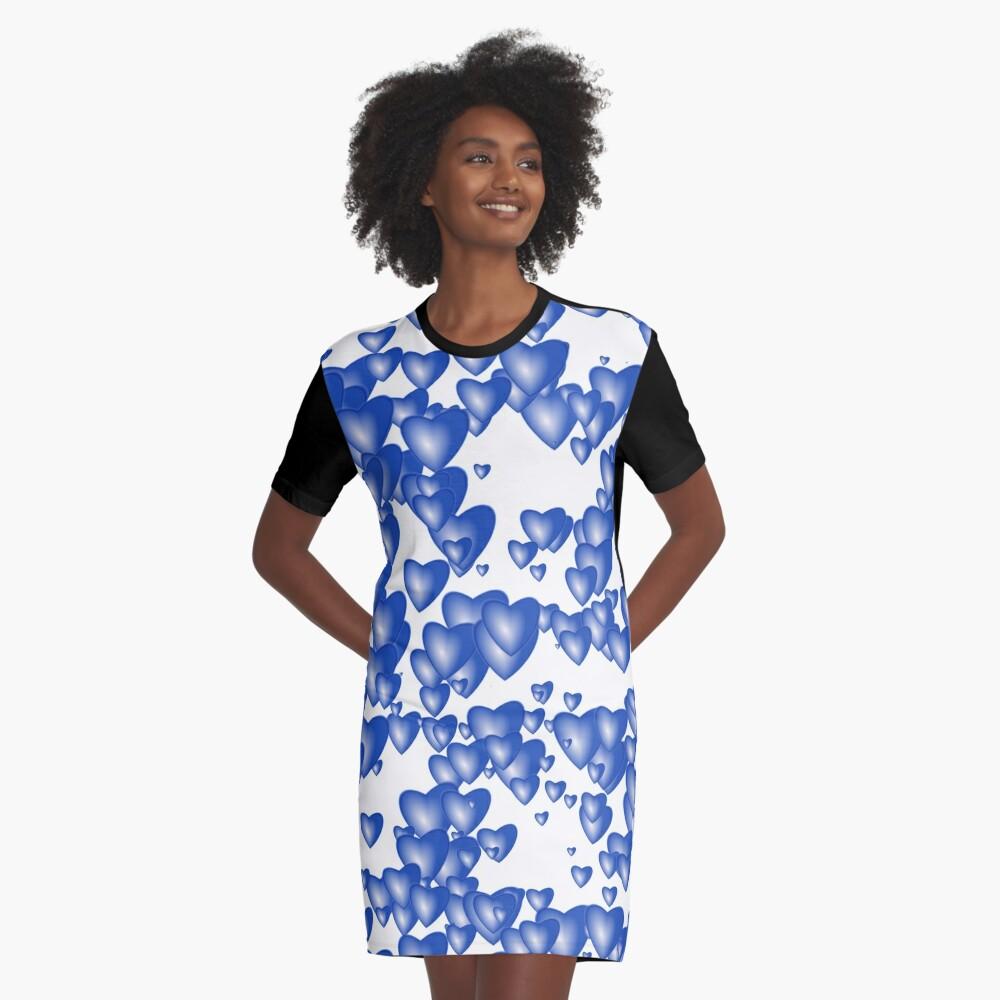 Blue heart pattern Graphic T-Shirt Dress