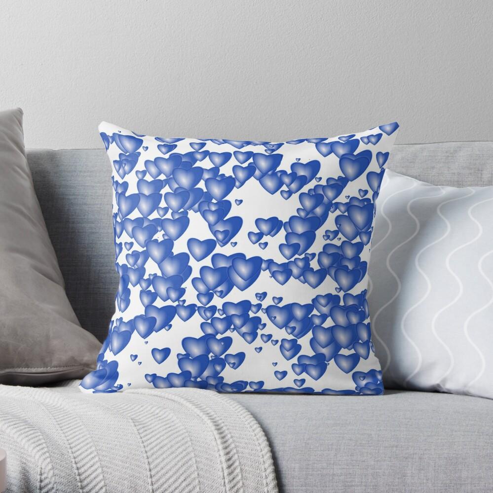 Blue heart pattern Throw Pillow