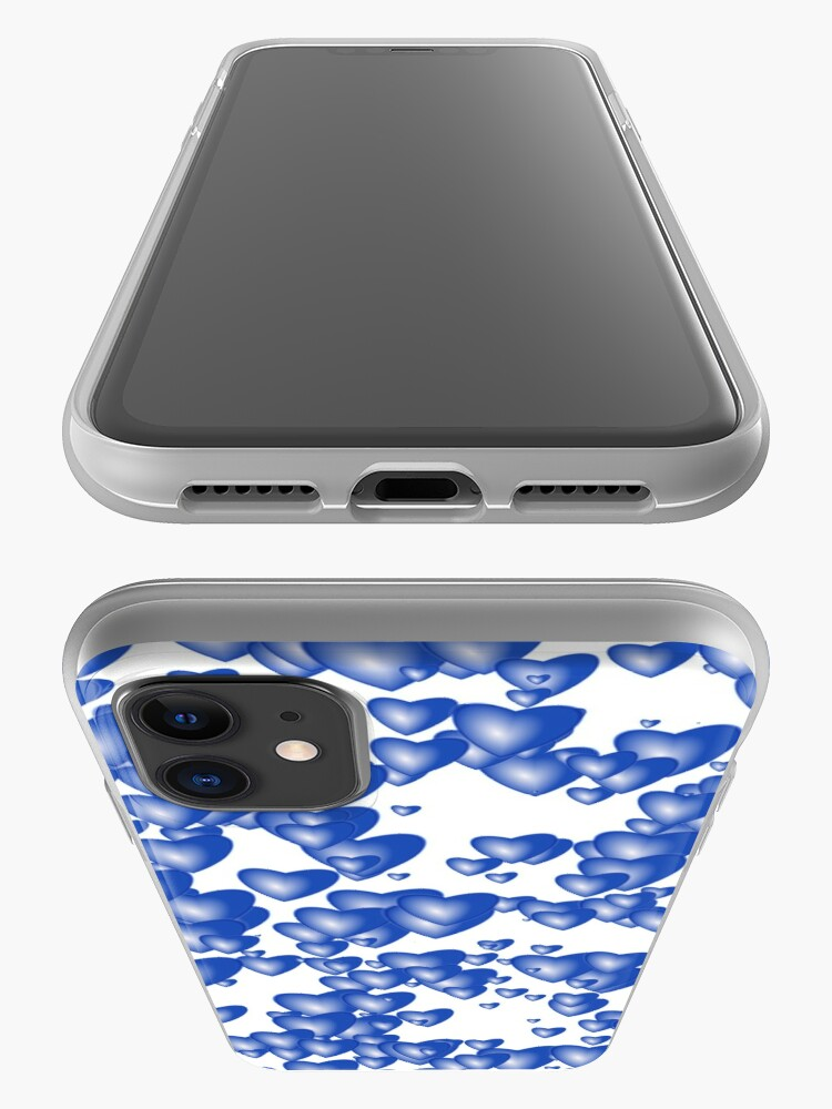 Alternate view of Blue heart pattern iPhone Case & Cover
