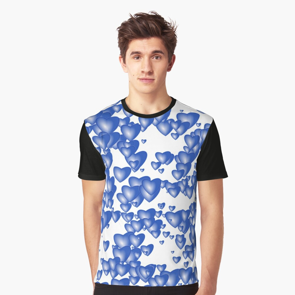 Blue heart pattern Graphic T-Shirt