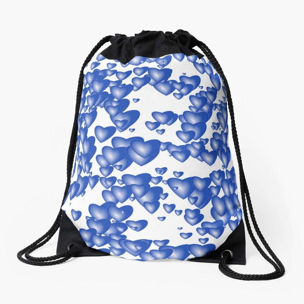 Blue heart pattern Drawstring Bag