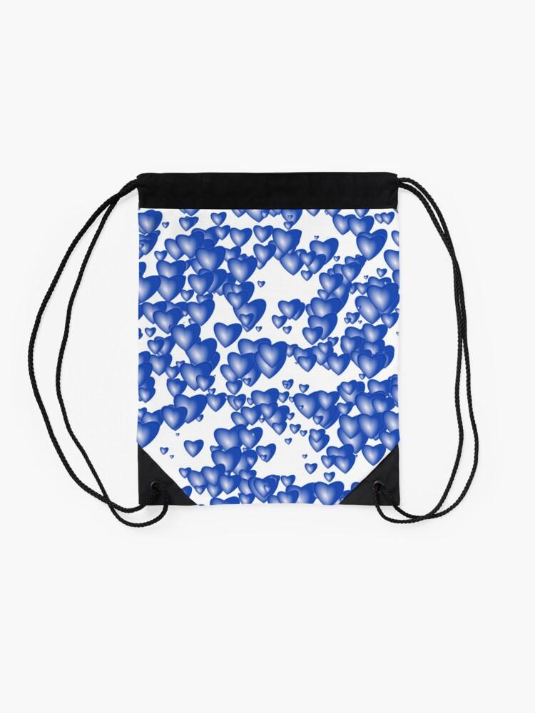 Alternate view of Blue heart pattern Drawstring Bag