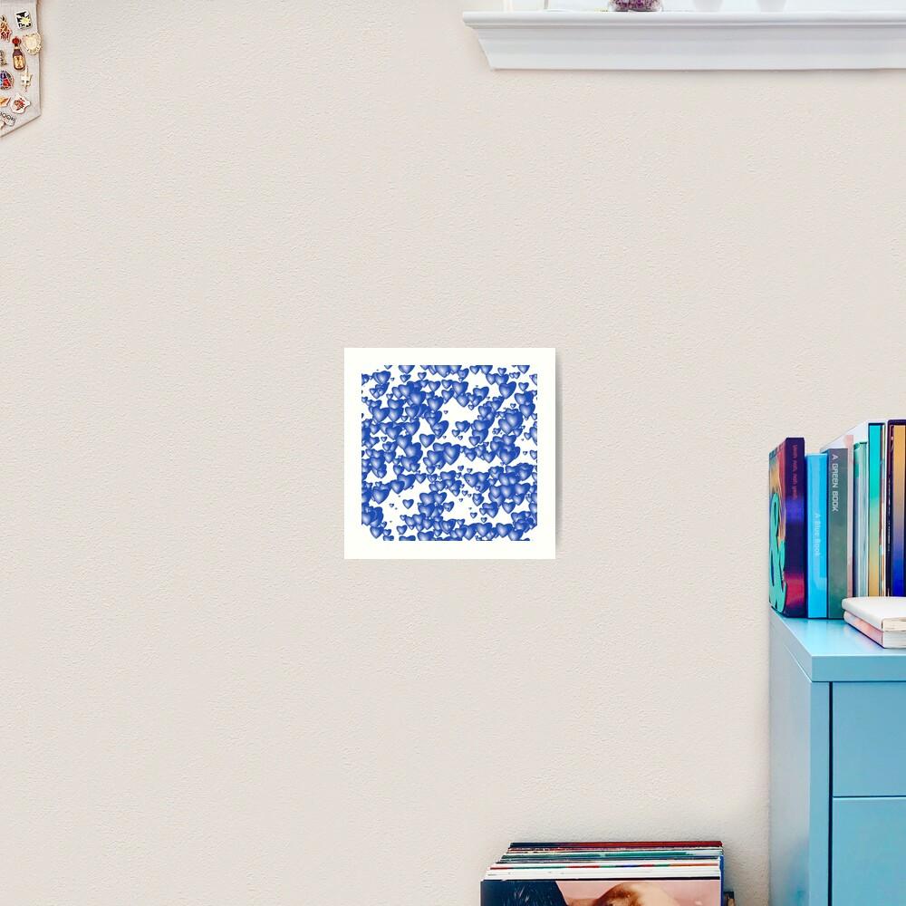 Blue heart pattern Art Print