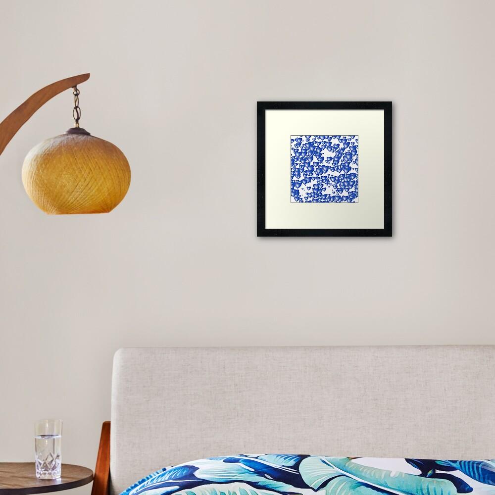 Blue heart pattern Framed Art Print