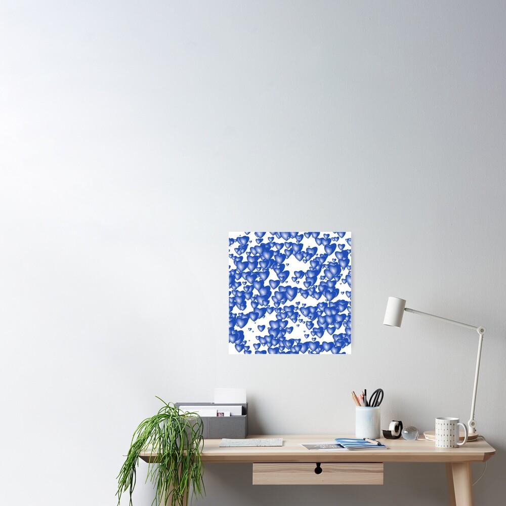 Blue heart pattern Poster