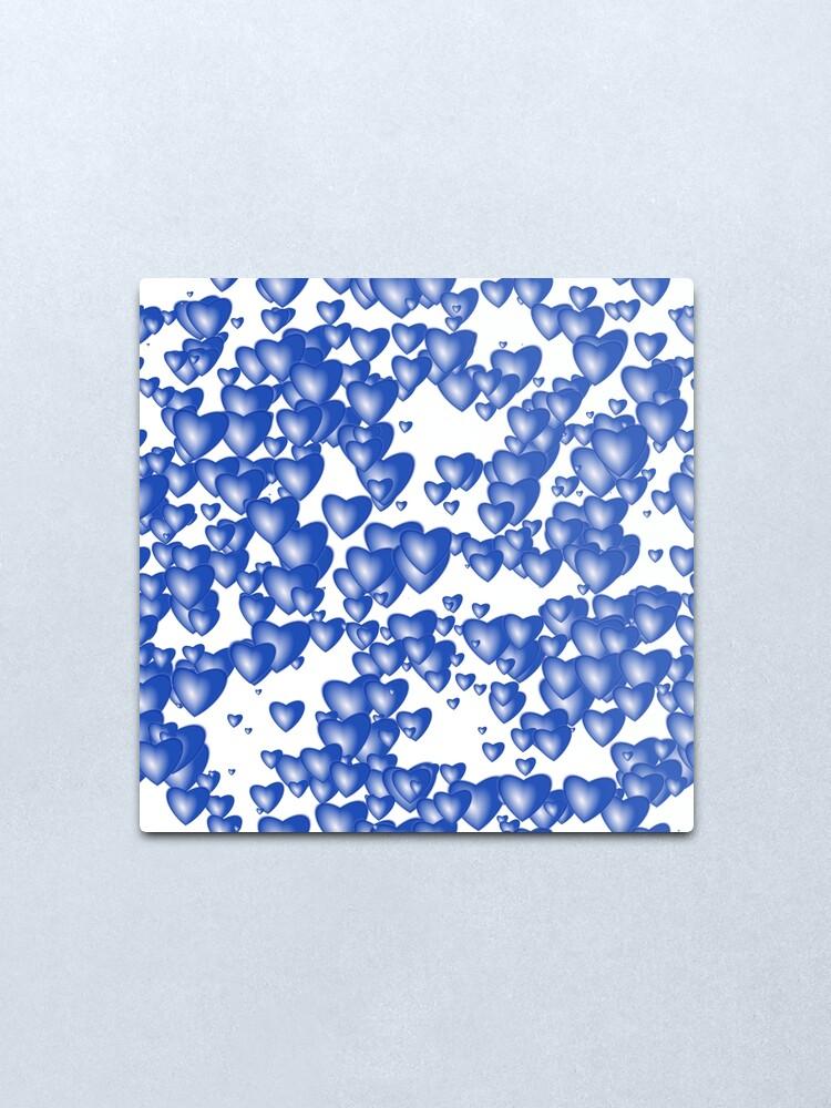 Alternate view of Blue heart pattern Metal Print