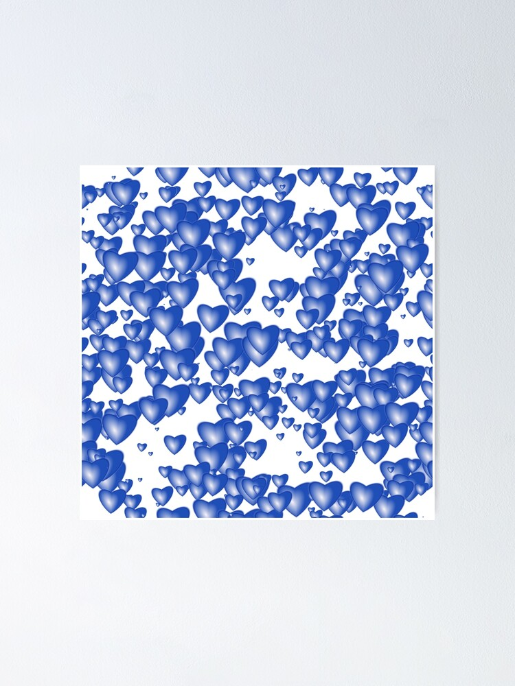 Alternate view of Blue heart pattern Poster