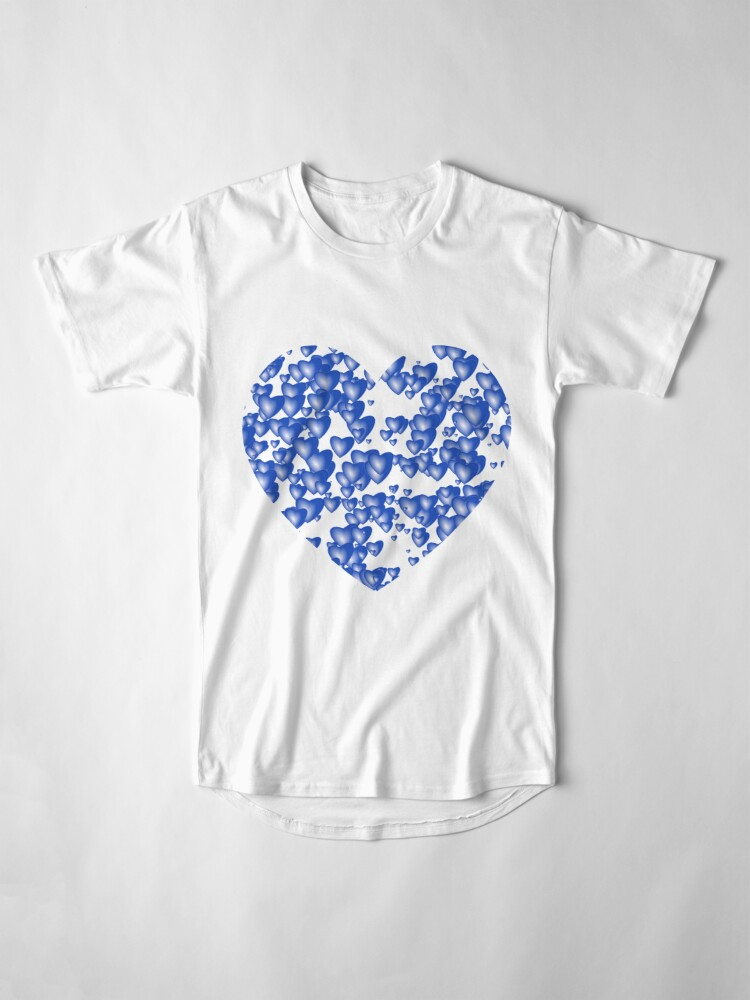 Alternate view of Blue heart pattern Long T-Shirt