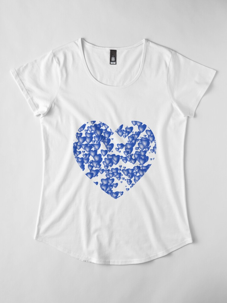 Alternate view of Blue heart pattern Premium Scoop T-Shirt