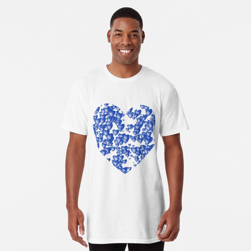 Blue heart pattern Long T-Shirt