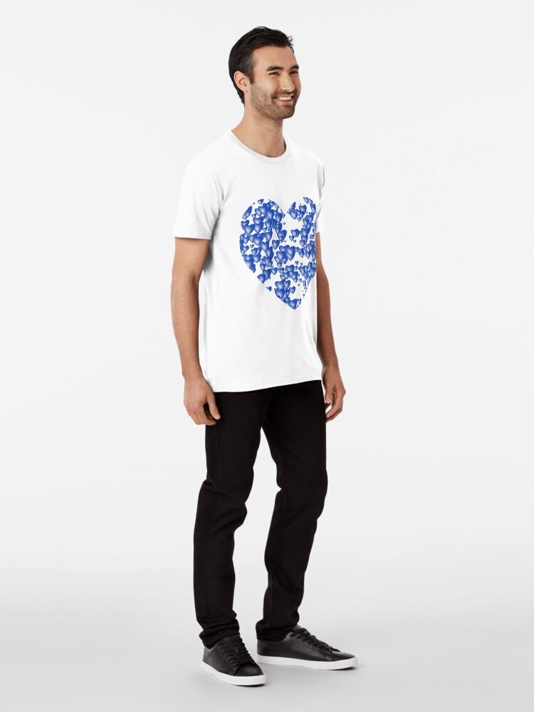 Alternate view of Blue heart pattern Premium T-Shirt