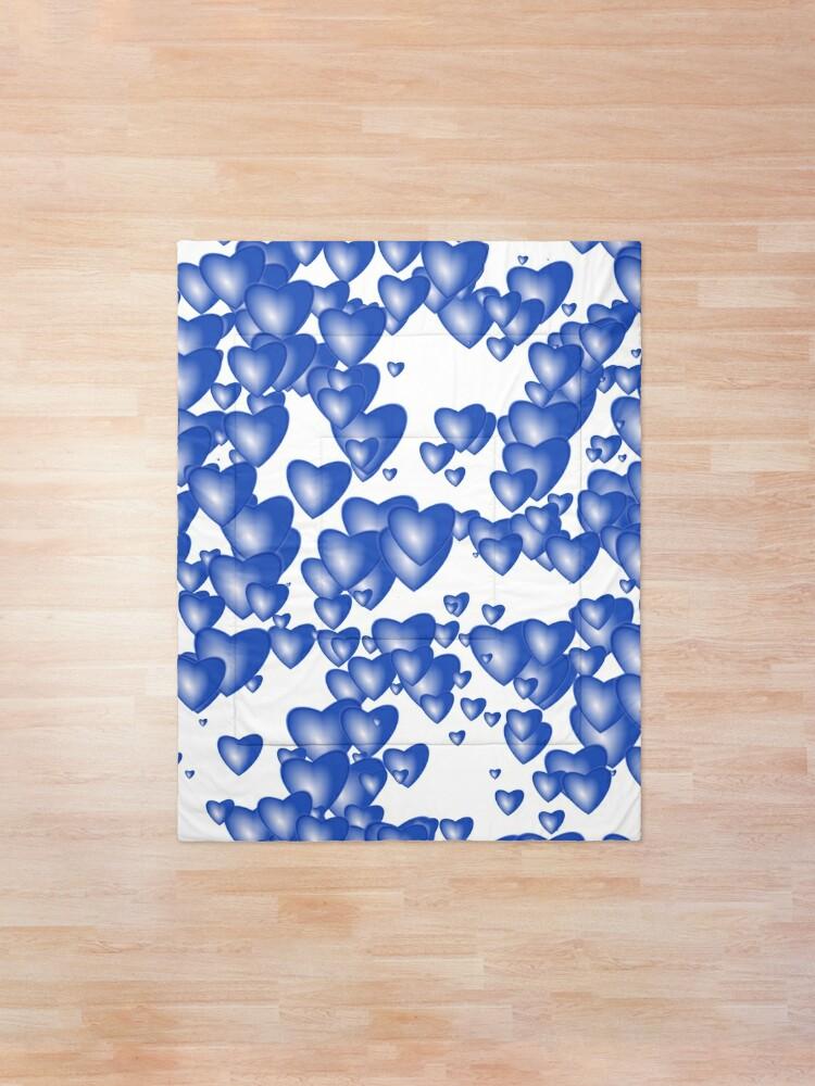 Alternate view of Blue heart pattern Comforter