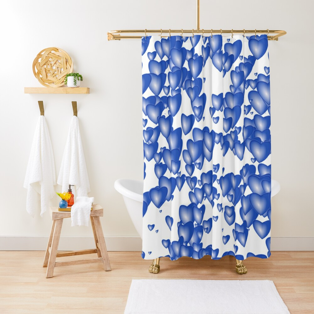 Blue heart pattern Shower Curtain