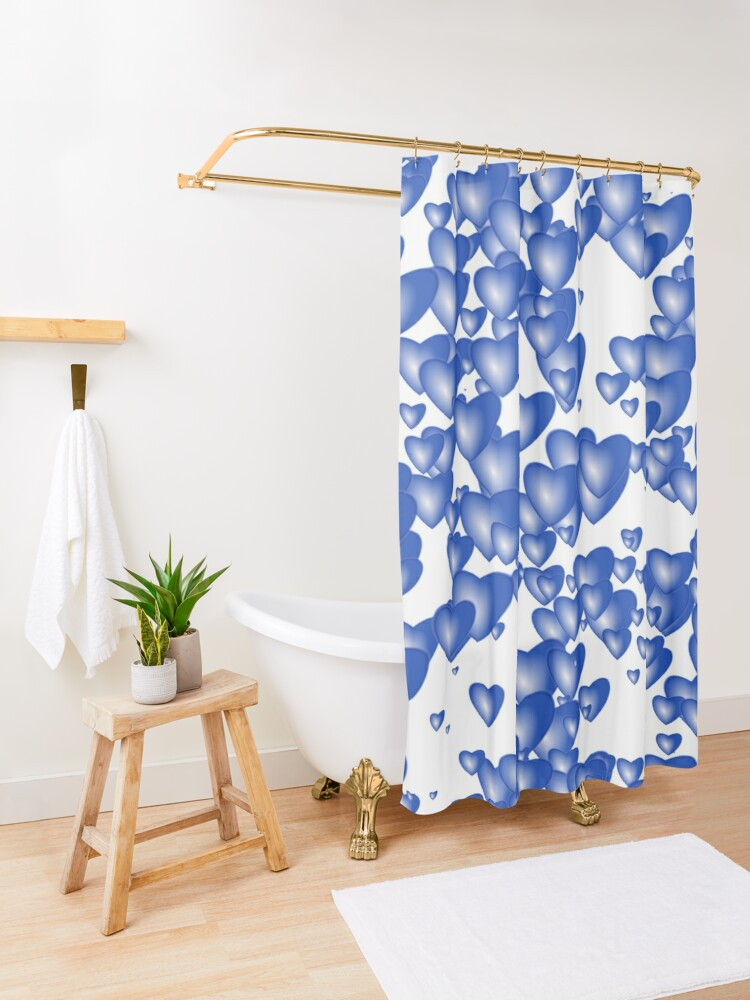 Alternate view of Blue heart pattern Shower Curtain