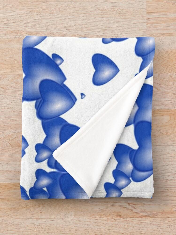 Alternate view of Blue heart pattern Throw Blanket
