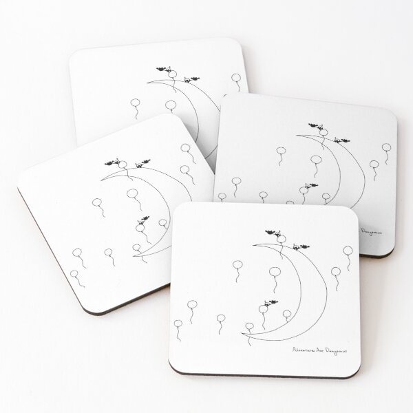 Crescent Moon with Balloons and Cows Coasters (Set of 4)