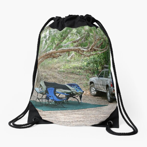 Campsite on the Gregory River at Gregory, Qld Drawstring Bag