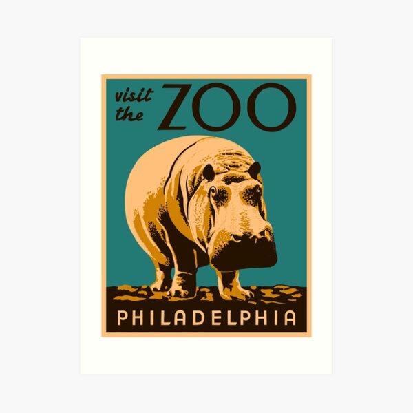 Sad Lonely Hippo in Philadelphia Zoo.  Art Print