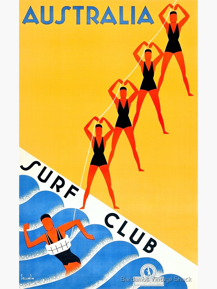 Australia Surf Club - Vintage Travel Poster by SamKovac
