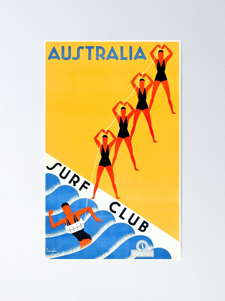 Alternate view of Australia Surf Club - Vintage Travel Poster Poster