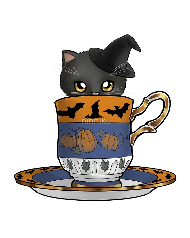 Kitten in a Tea Cup, Halloween Edition, Spoopy Black Cat Witch with Pumpkins and Bats by ninniku