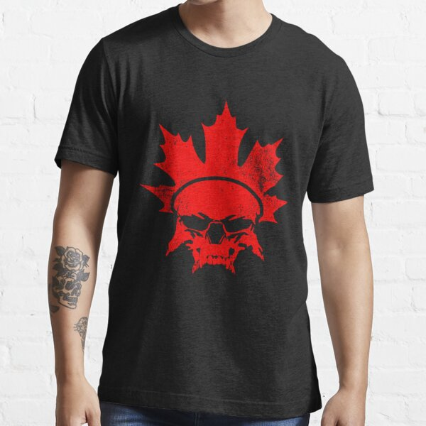 Stylized national flag of Canada - Skull emblem and Maple Leaf Essential T-Shirt