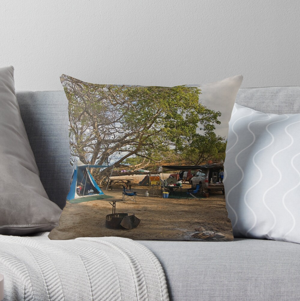 Campsite at Bathurst Head, Qld Throw Pillow