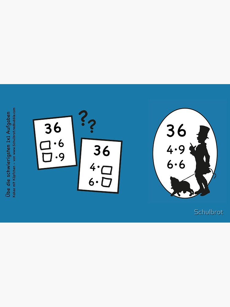Difficult 1x1 tasks by the way, today the 36 - cocoa with brains - learning with fun by Schulbrot