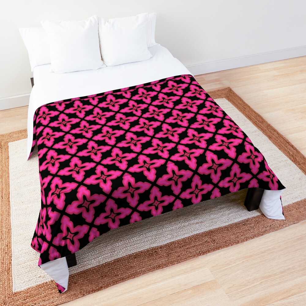 Fuchsia and Black Abstract Pattern Comforter
