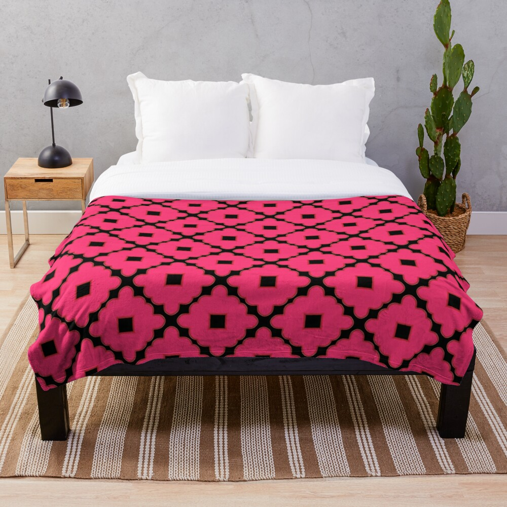 Pink and Black Abstract Pattern Throw Blanket