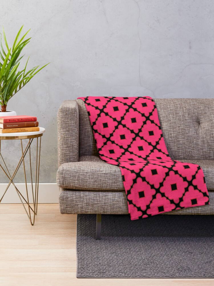 Alternate view of Pink and Black Abstract Pattern Throw Blanket