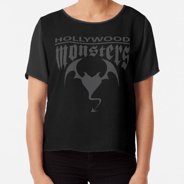 Hollywood Monsters Text Bat Logo - DARK GREY Chiffon Top