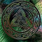 The Green Triquetra - Celtic Knotwork with a Rainbow Background by anankeblue