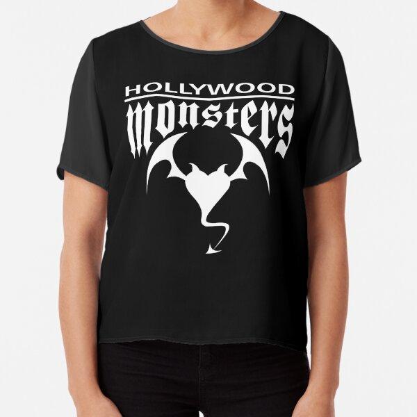 Hollywood Monsters Text Bat Logo - WHITE PRINT Chiffon Top