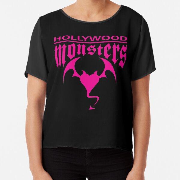 Hollywood Monsters Text Bat Logo - PINK PRINT Chiffon Top