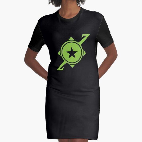 Galaxina Planet Logo - Lime Green Graphic T-Shirt Dress