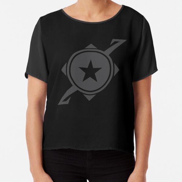 Galaxina Planet Logo - Dark Grey Chiffon Top