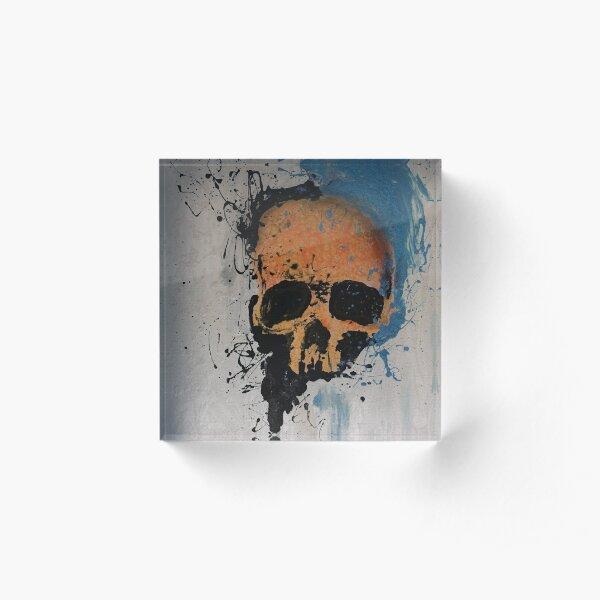 Orange Skull Acrylic Block