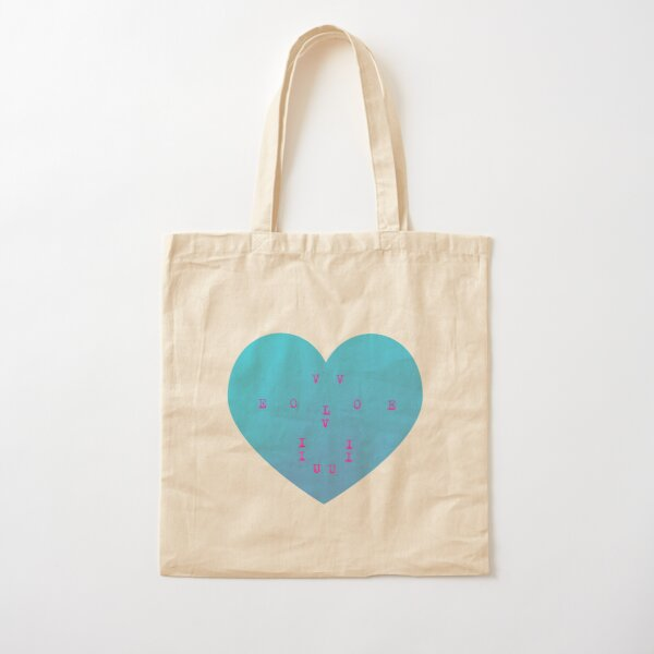 I Love U, evolve, typewriter, ALL CAPS, text, heart shape, evolution of love, blue, pink, robot character, play of words, popular, famous, best selling, top selling, highly recommended, trending Cotton Tote Bag
