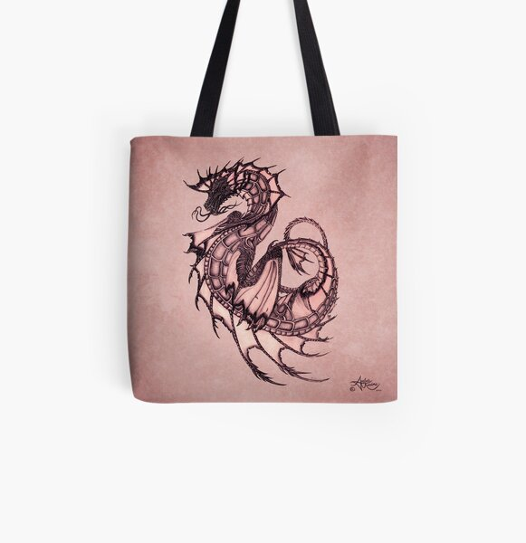 """Tsunami"" Sea Dragon, art by Amber Marine ~ (Coral Version) ~ Graphite Illustration (Copyright 2005) All Over Print Tote Bag"