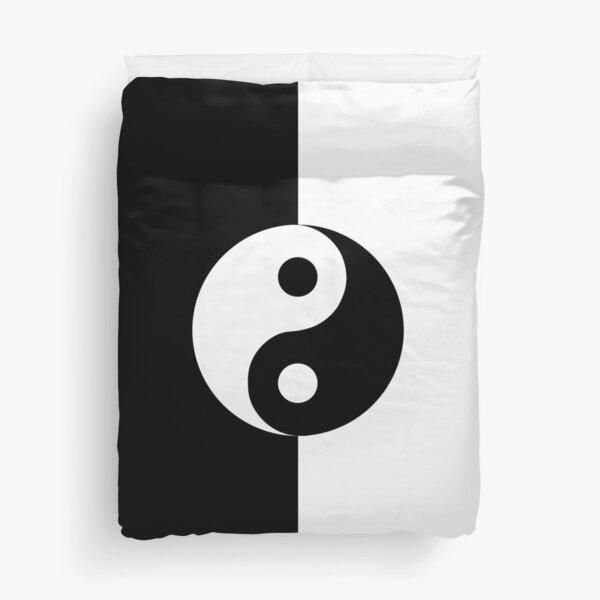 Yin Yang Black and White - Vertical Duvet Cover