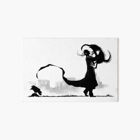 A man playing with a hairy monster and ignoring a two-headed crow Art Board Print