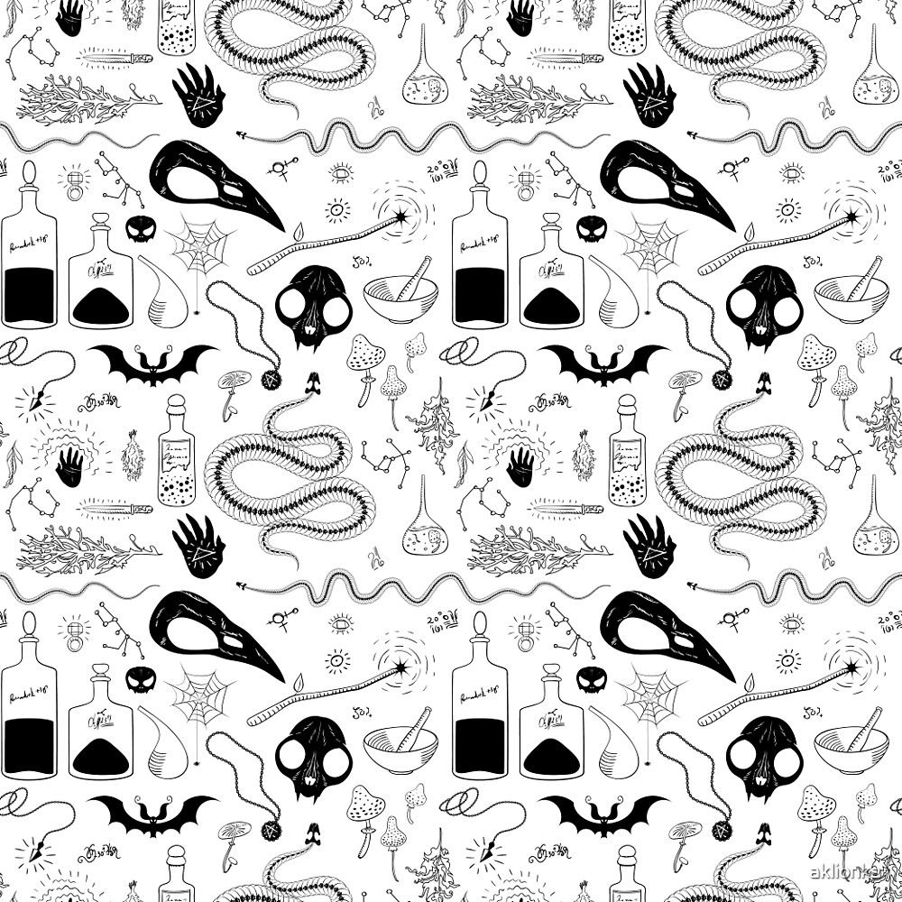 Witchcraft pattern with animal skulls by aklionka