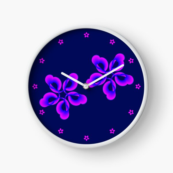 Spiral Pink Blue Abstract Flowers Clock