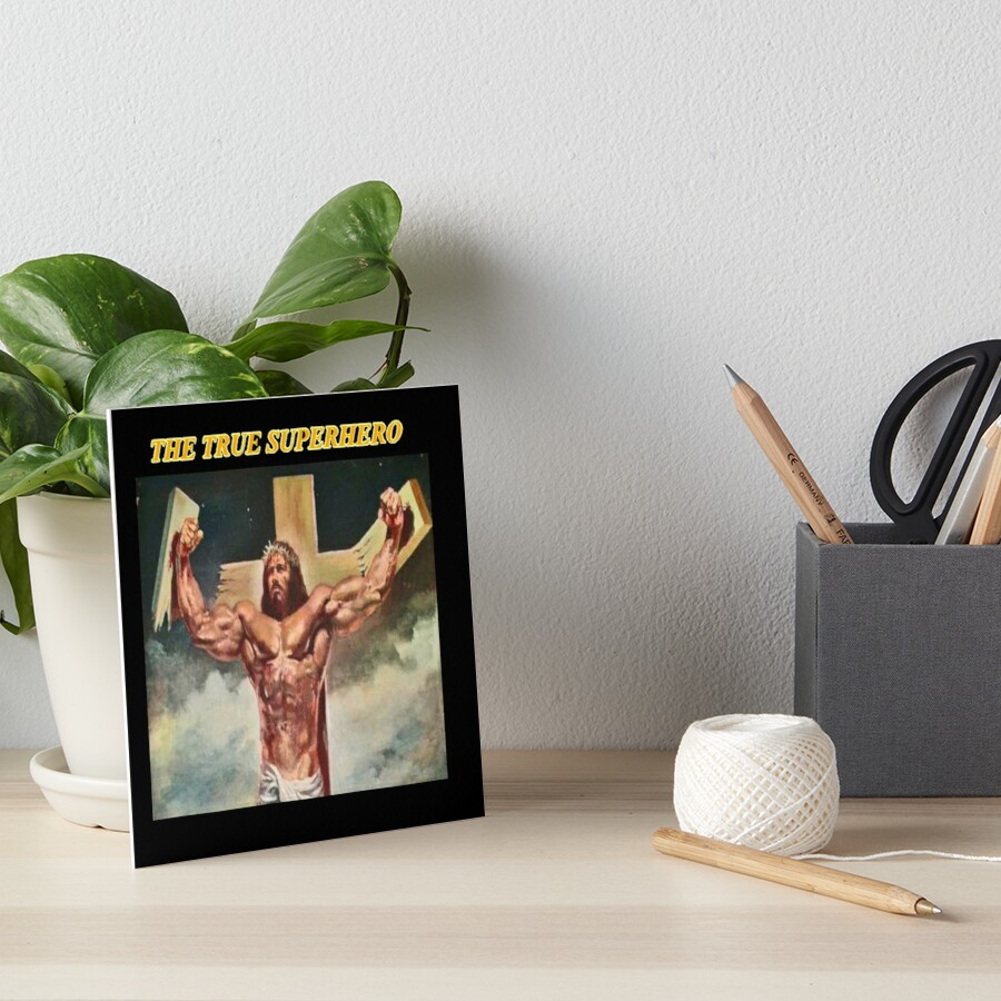 Lord Jesus Christ True Superhero Break The Cross Art Board Print