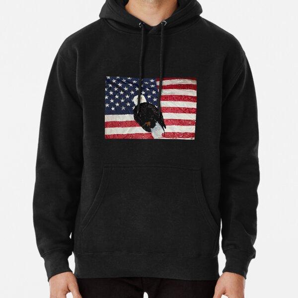 Patriotic Eagle and American Flag Pullover Hoodie