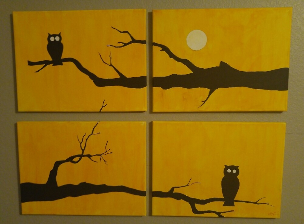 Four Piece Owl Painting by SLSketches