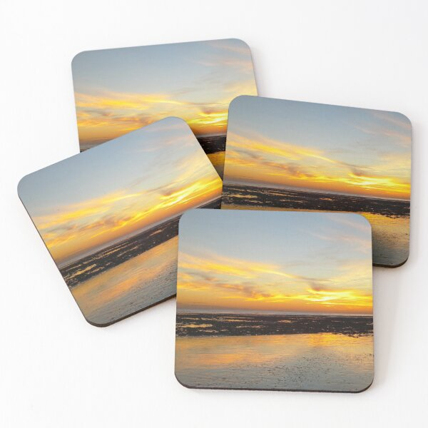 Golden Yellow November Evening at Low Tide photo Coasters (Set of 4)