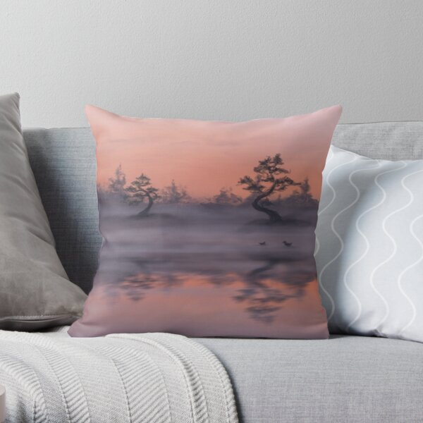 Asian landscape with a lake Throw Pillow